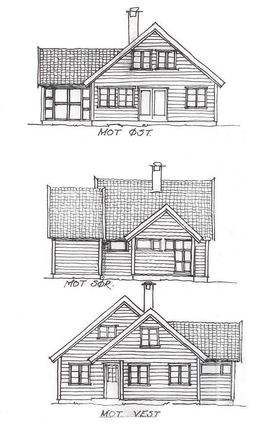 Fasadetegning av hus sett fra øst, sør og vest. Illustrasjon.