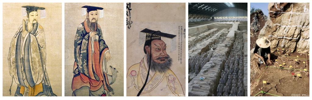 Tre kinesiske keisere, terrakottahær og et arkeologisk utgravingssted. Kollasj.