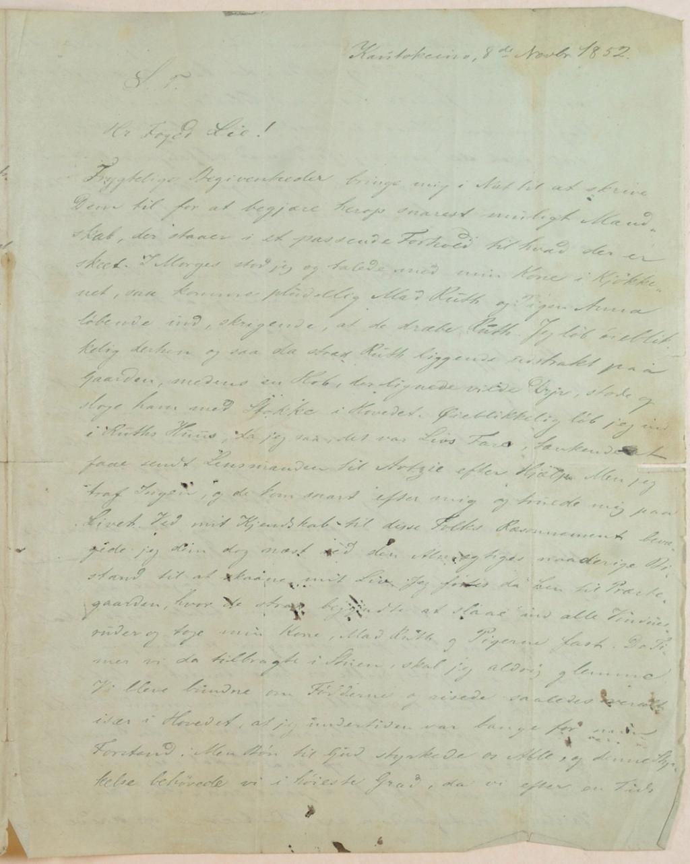 Hvoslevs brev til fogden om Kautokeino-opprøret