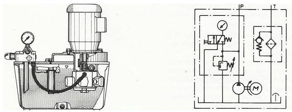 Gjennomskåret skisse av aggregat. Illustrasjon.