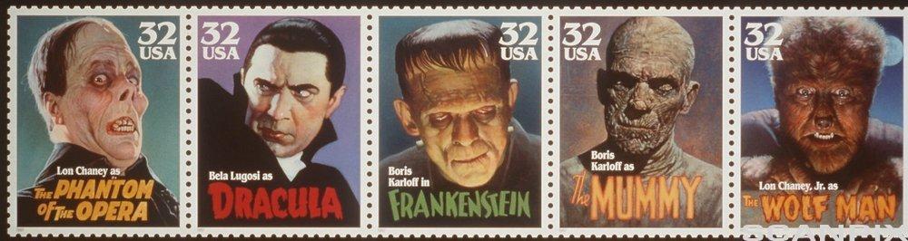 Kjente ansikter fra skrekkfilmer på amerikanske frimerker.