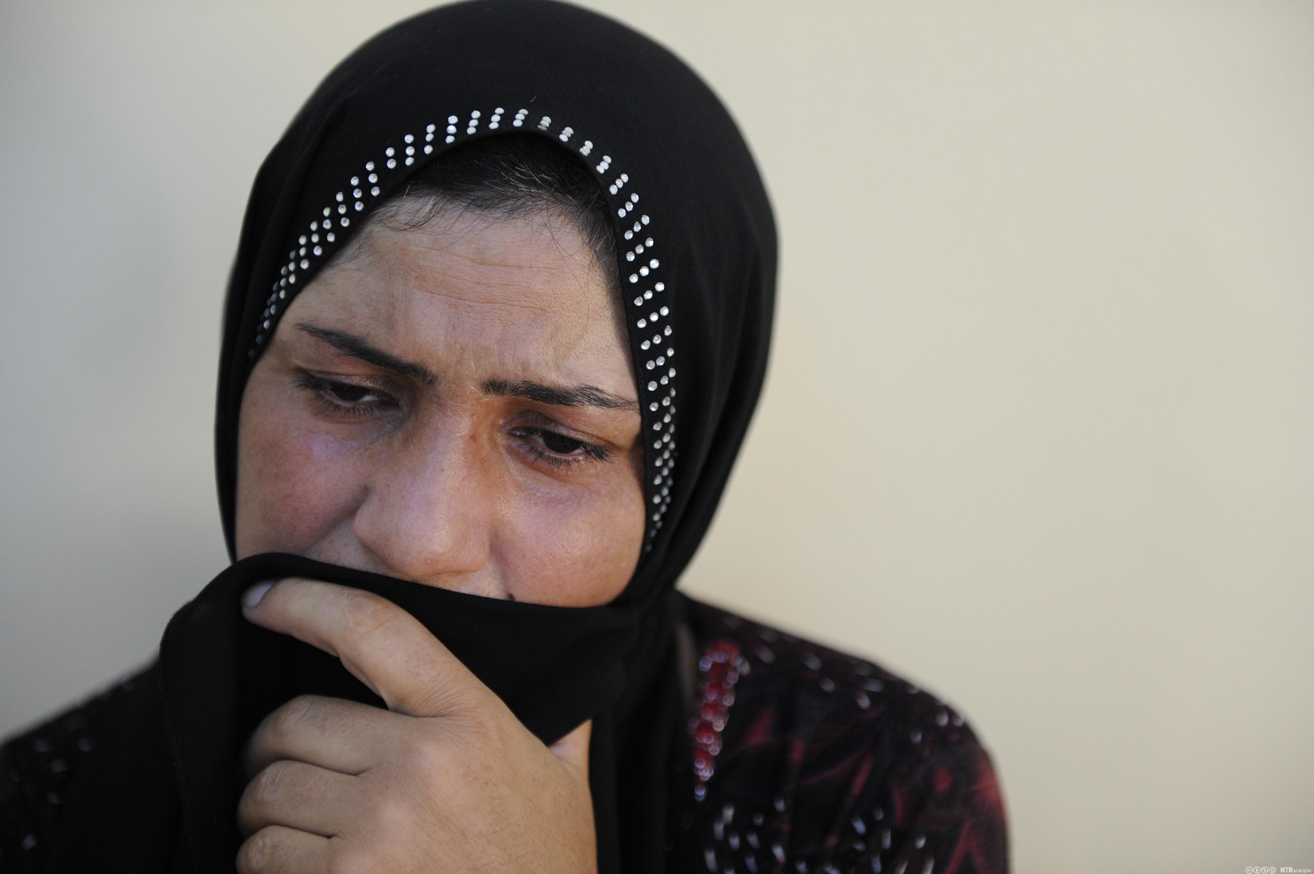 En kvinnelig flyktning som tilhører den religiøse minoritetsgruppen jazidiene.
