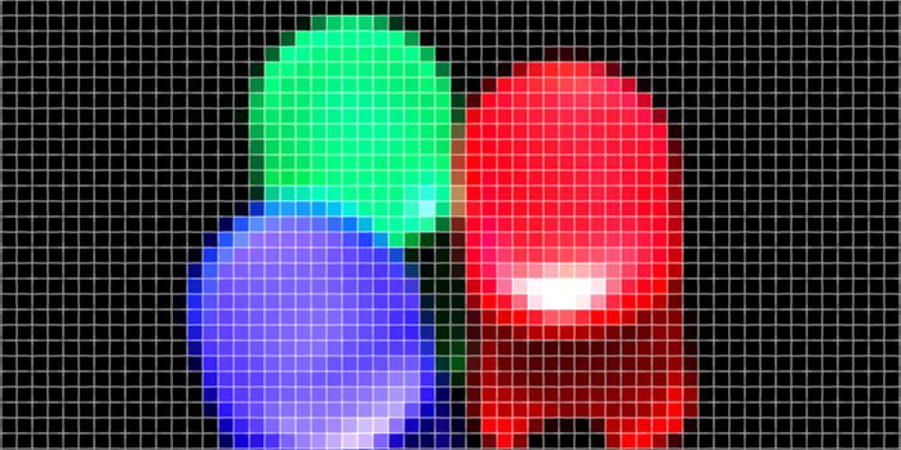 Rød, grønn og blå lysdiode. Grafikk.