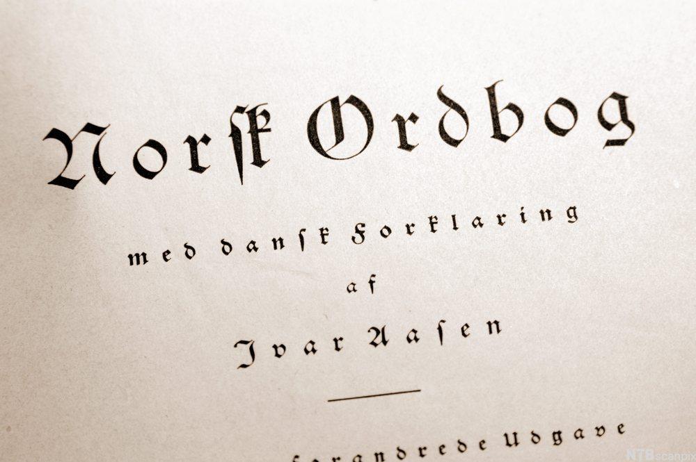 Tittelsiden fra Ivar Aasen Norsk Ordbog fra 1850. Foto.