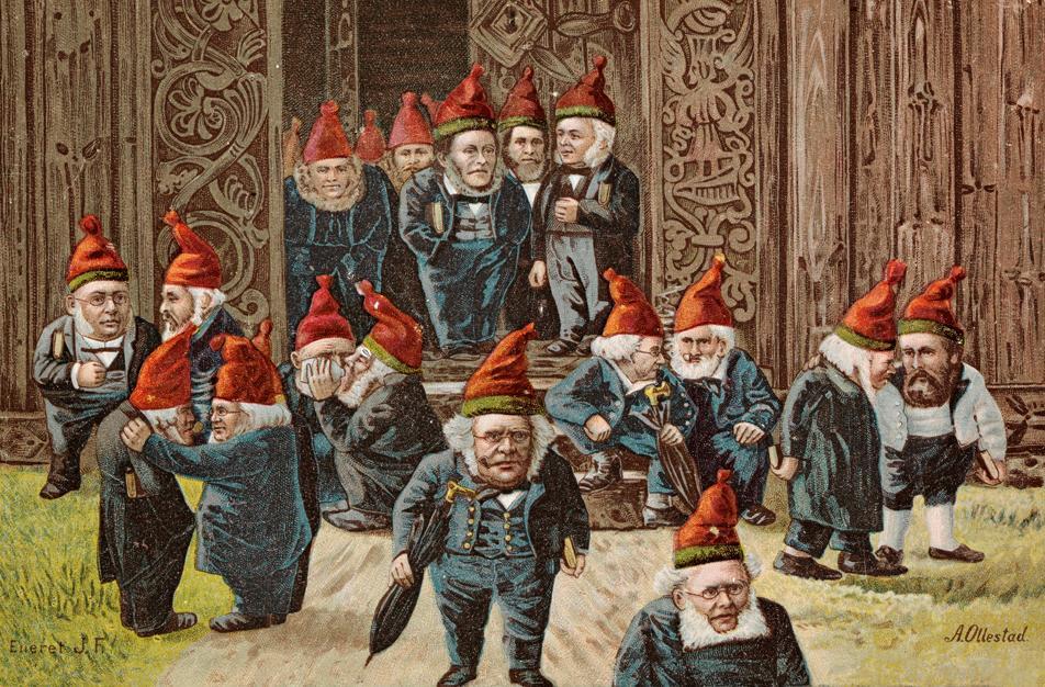 Ivar Aasen og andre kjendiser og politikere anno 1895. Maleri.