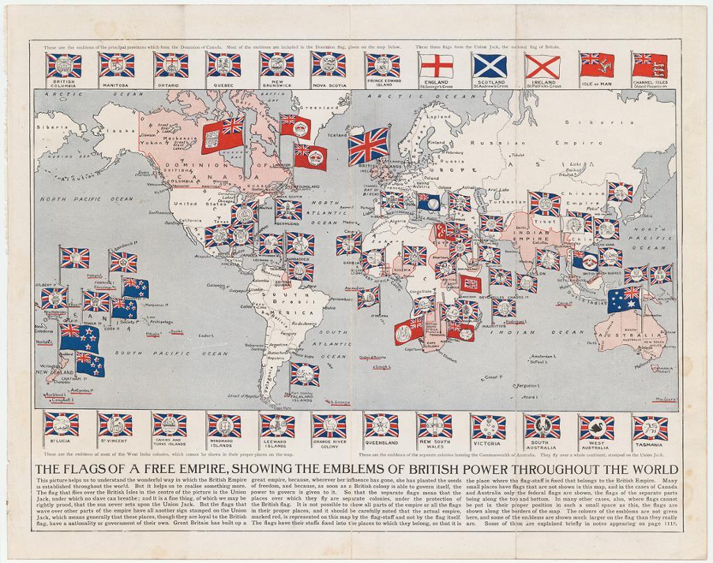 Verdenskart som viser det britiske imperiets utstrekning i 1910. Flagg med forskjellige emblem er plassert i landene britene hadde kontroll over. Kart.