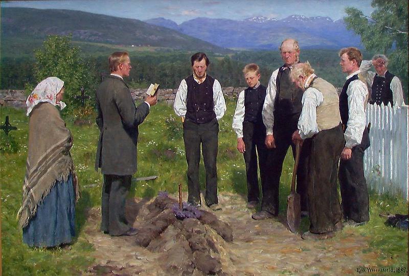 """Maleriet """"En Bondebegravelse"""". Foto."""