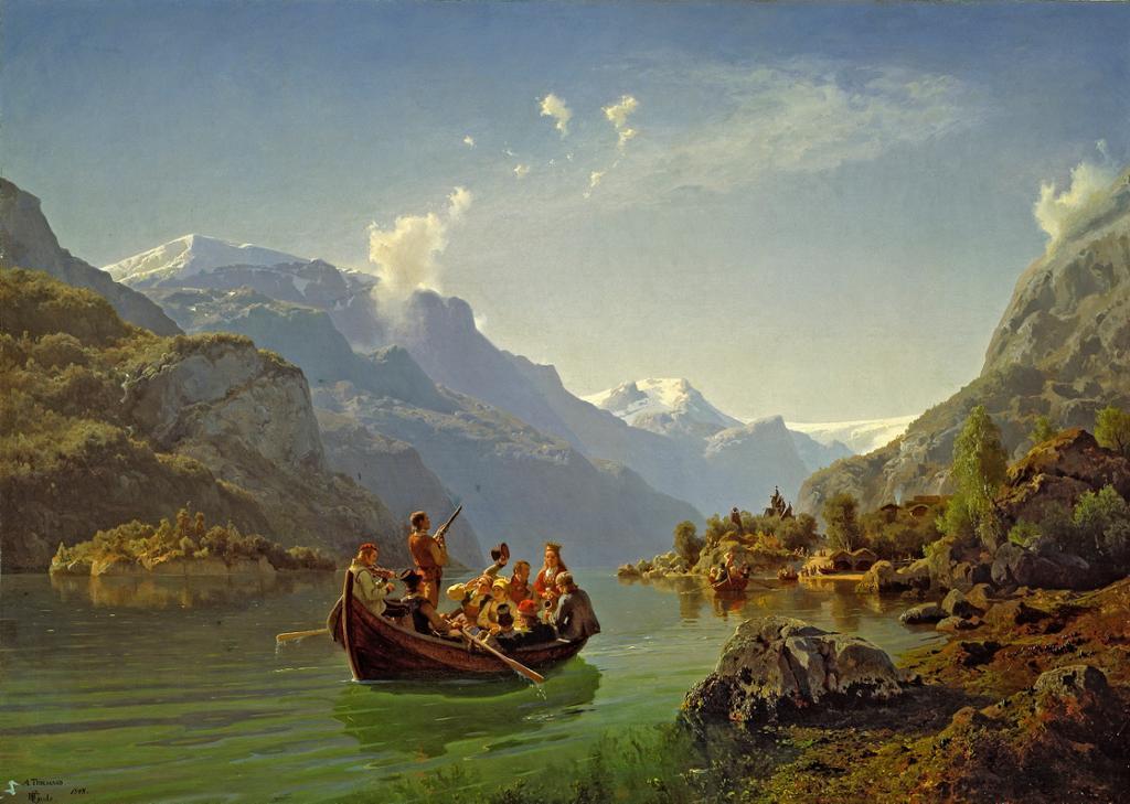 Brudeferden i Hardanger. Maleri.