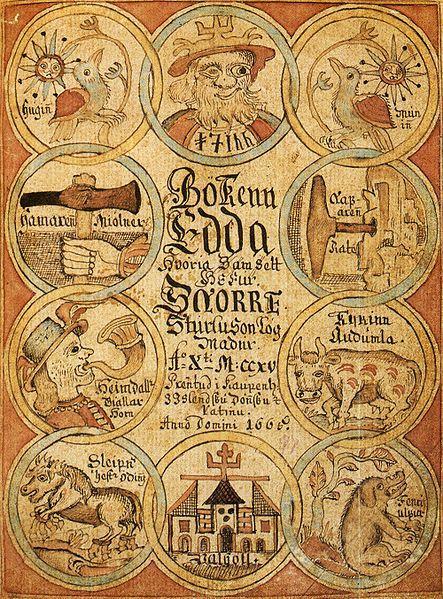 Snorre-Edda på forsiden av et islandsk manuskript. Foto.