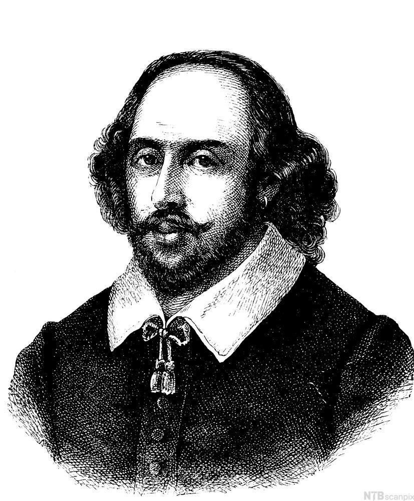 Portrett av William Shakespeare. Illustrasjon.