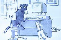 En hund foran en PC forklarer en annen hund at ingen på internett vet at du er en hund. Illustrasjon.