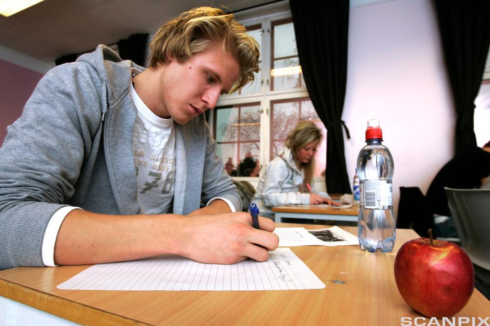Elev som sitter ved en pult i et klasserom og skriver. Foto.