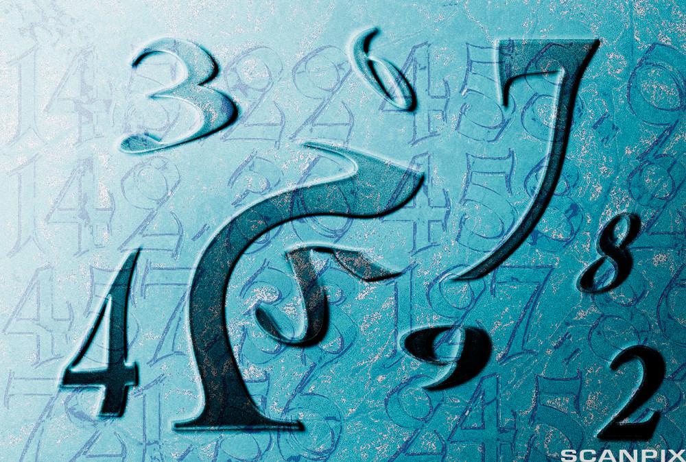 Tilfeldige tall spredt utover. Noen av tallene er forvrengte. Illustrasjon.