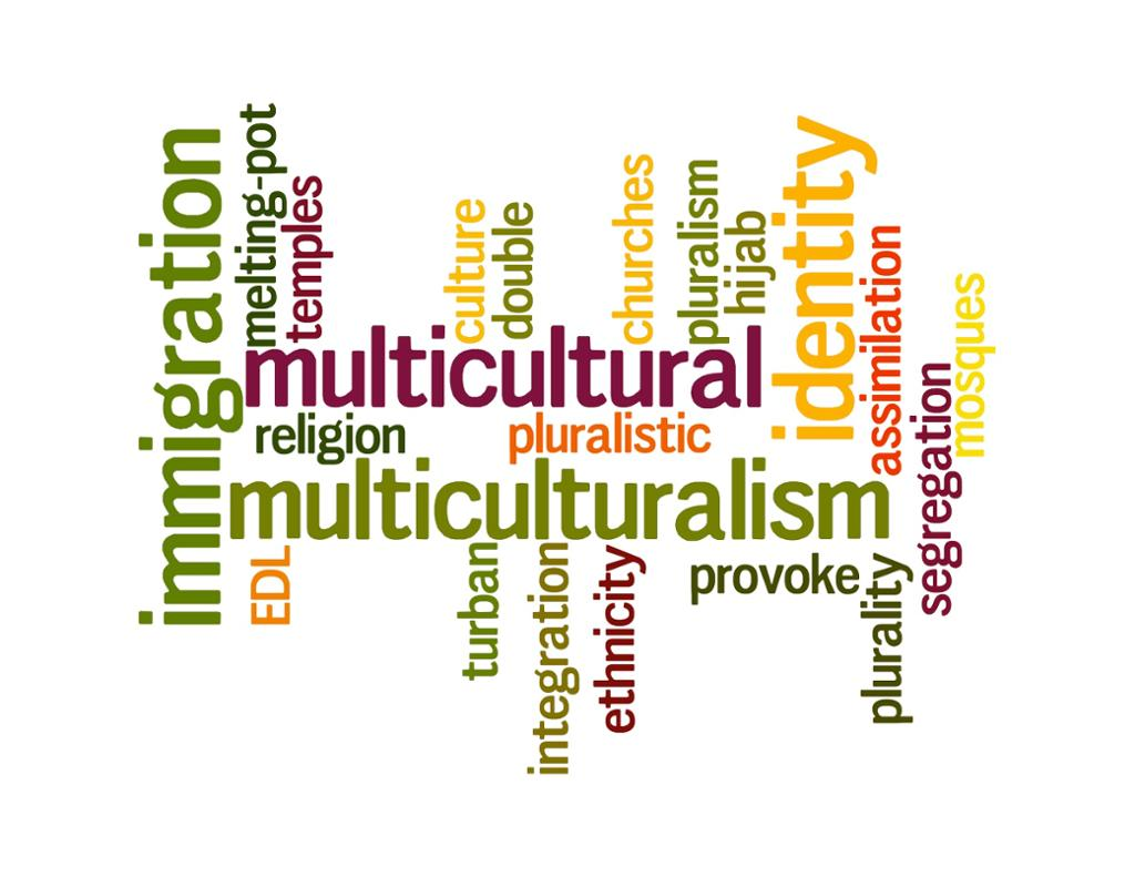Word cloud with words related to multiculturalism