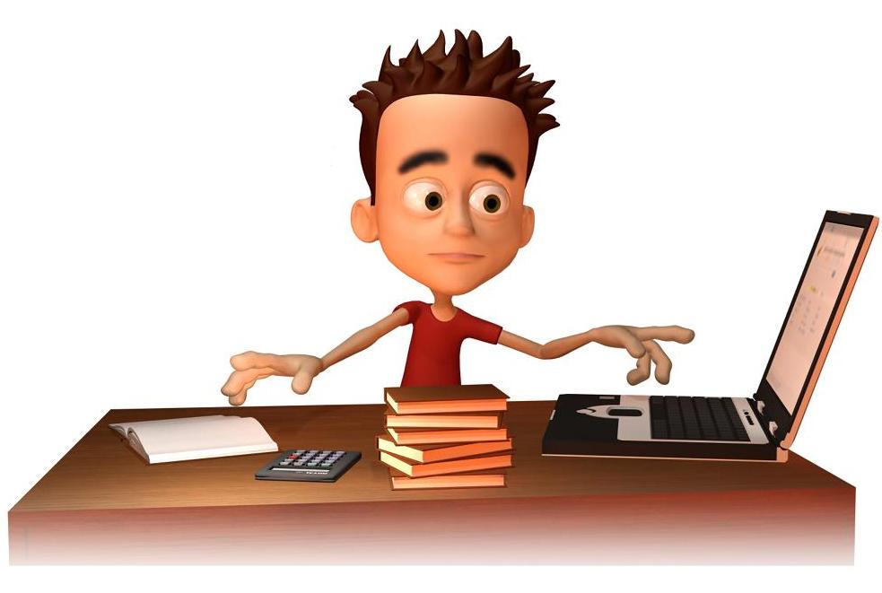Gutt som sitter ved skrivebordet med bøker og pc. Illustrasjon.