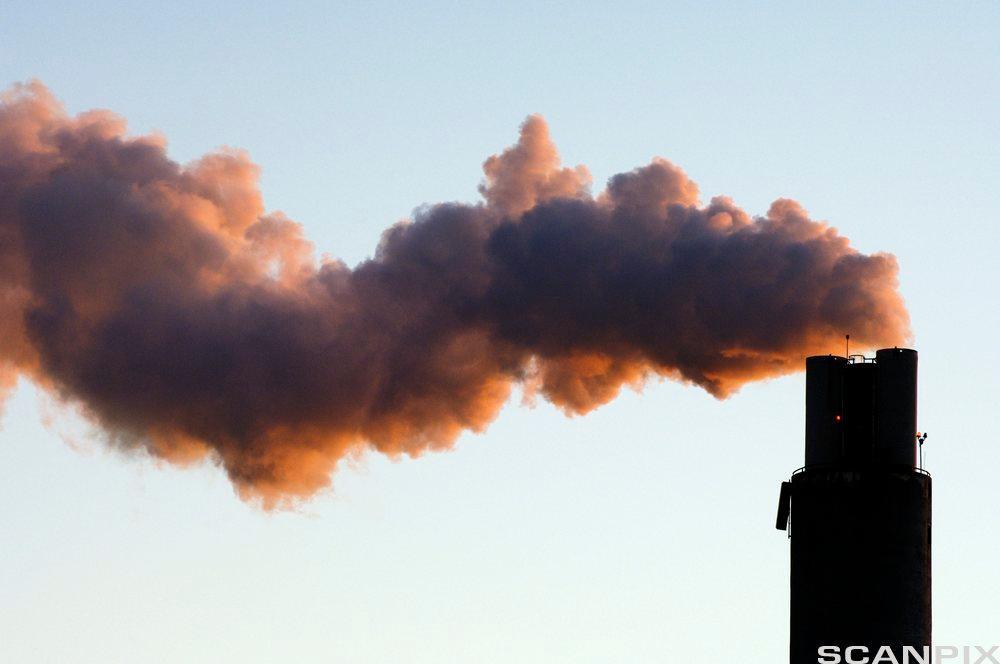 Sort fabrikkpipe som sender ut tett, mørk røyk. Lyseblå himmel i bakgrunnen. Foto.