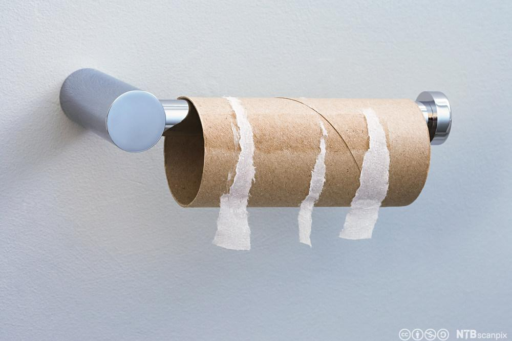 Toalettrull uten papir. Foto.