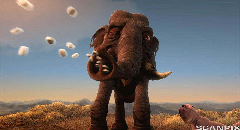 Elefant som skyter drops ut av snabelen. Illustrasjon.