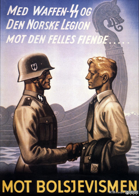Norsk nazistplakat for verving av frontkjempere. Foto.
