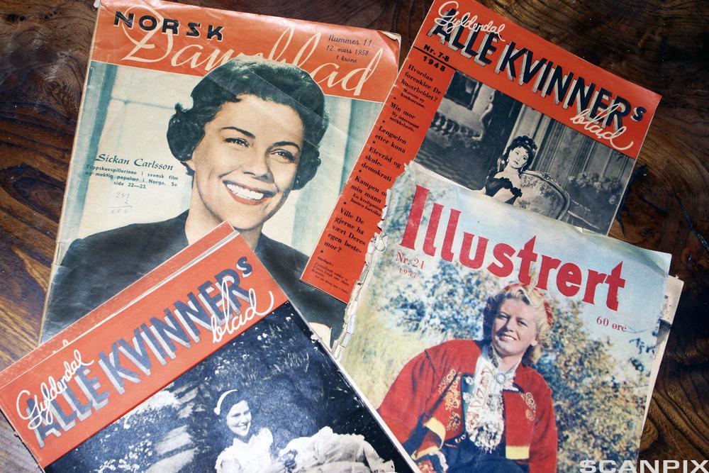 Forsiden til ukebladene Norsk Dameblad, Alle kvinners blad og Illustrert fra perioden 1950–1960. Foto.