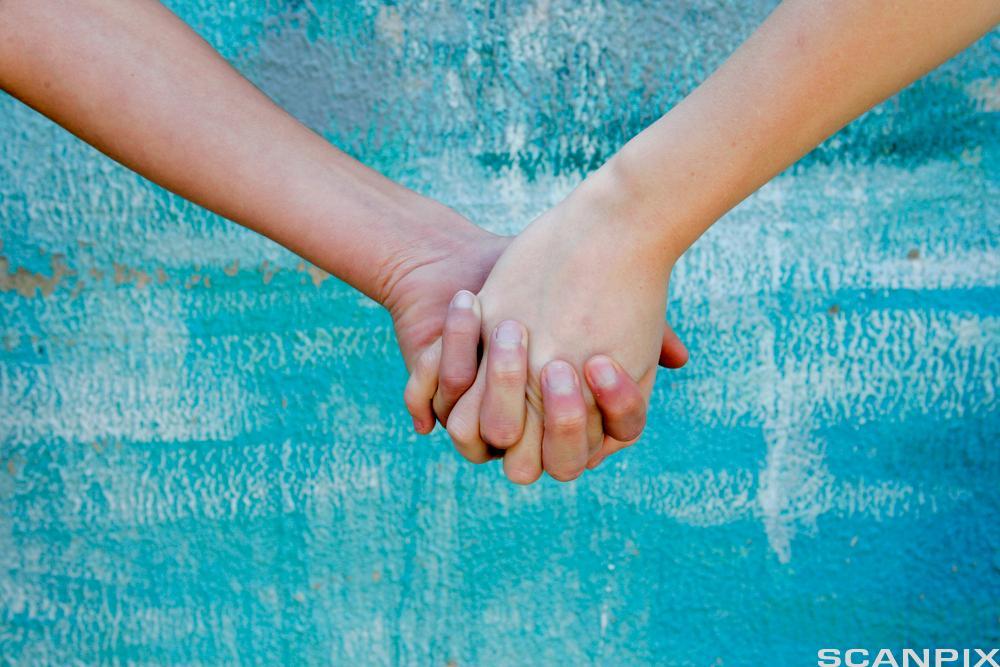 Nærbilde av underarmer og hender til to personer. Hendene deres er knytta sammen.  Foto.
