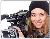 jente med videokamera