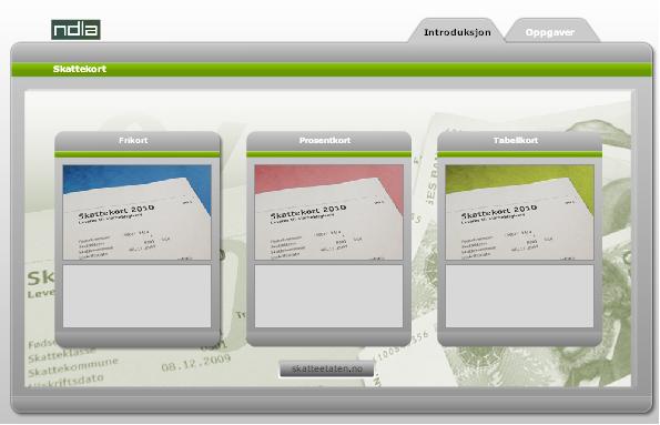 Illustrasjon viser ulike typer skatterkort
