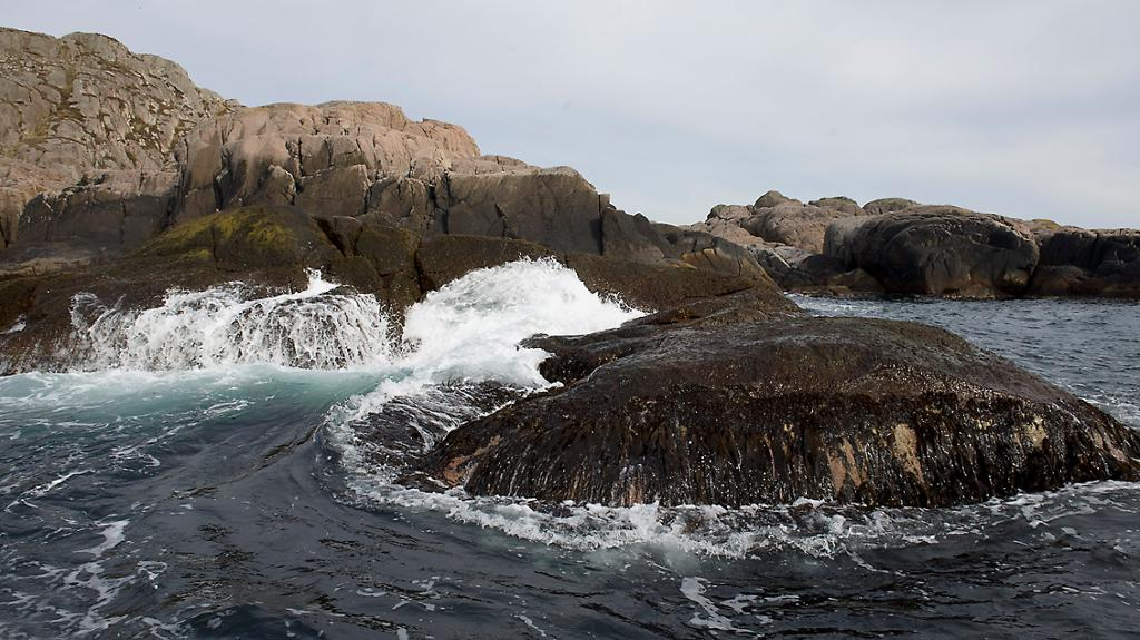 Bølger slår mot land. Foto