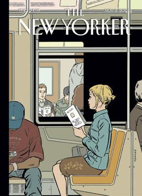 The cover of the New Yorker Magazine showing a girl reading on a train