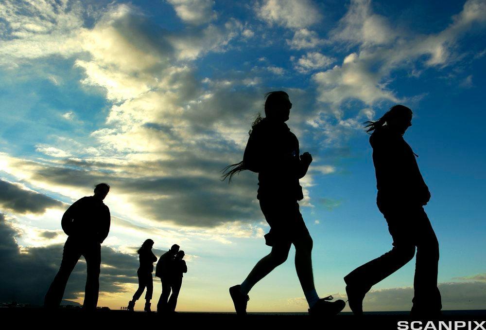 En gjeng med ungdommer i silhuett mot himmelen. Foto.
