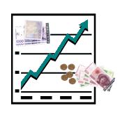 Pengesedler og en graf som er stigende. Illustrasjon.