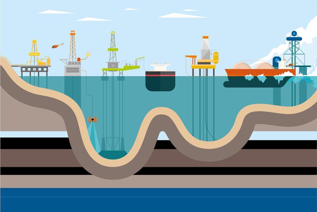 Ulike offshore installasjoner. Illustrasjon.