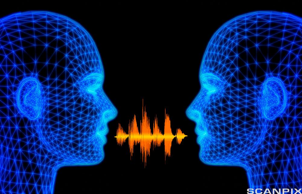 To hoder, lydbølger svever mellom dem. Illustrasjon.