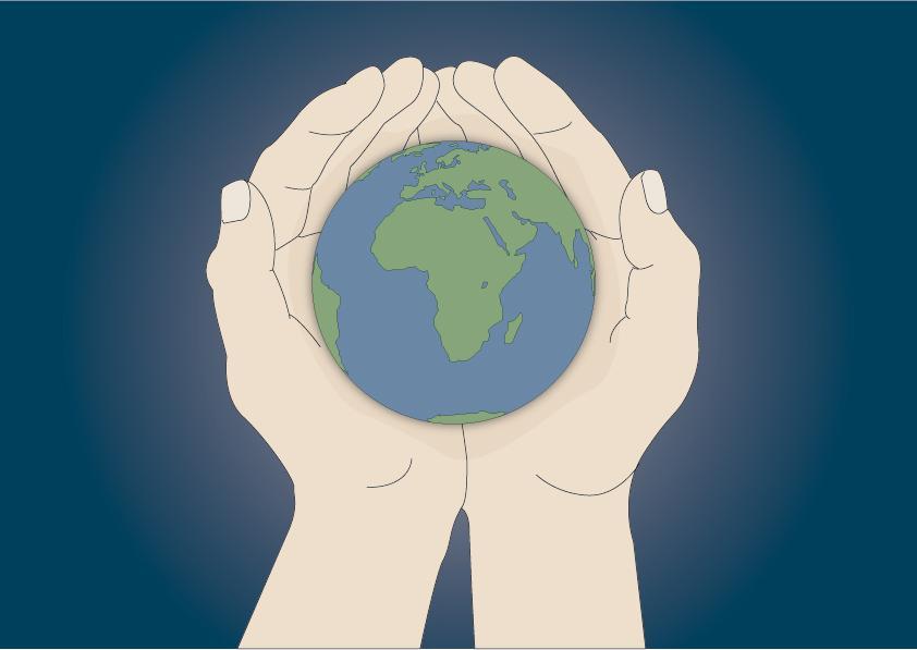 To hender holder en jordklode. Illustrasjon.