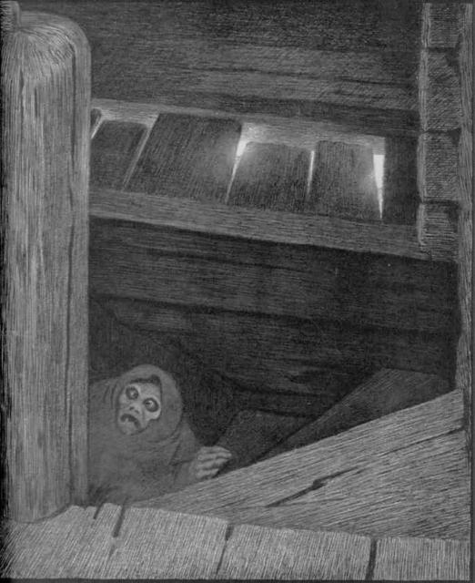 Pesta i trappen av Theodor Kittelsen. Maleri.