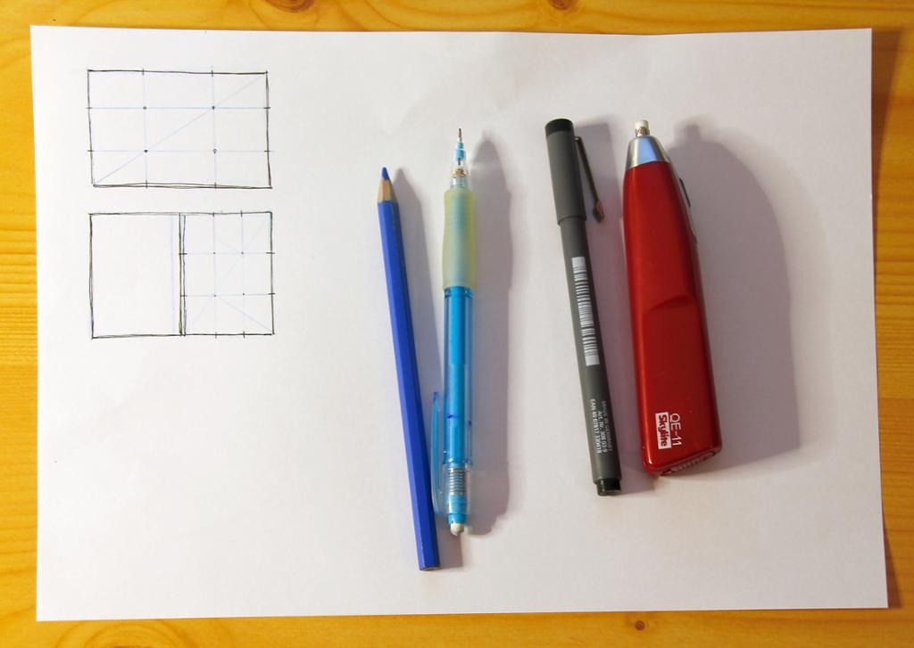Utstyr til skissetegning. Foto.