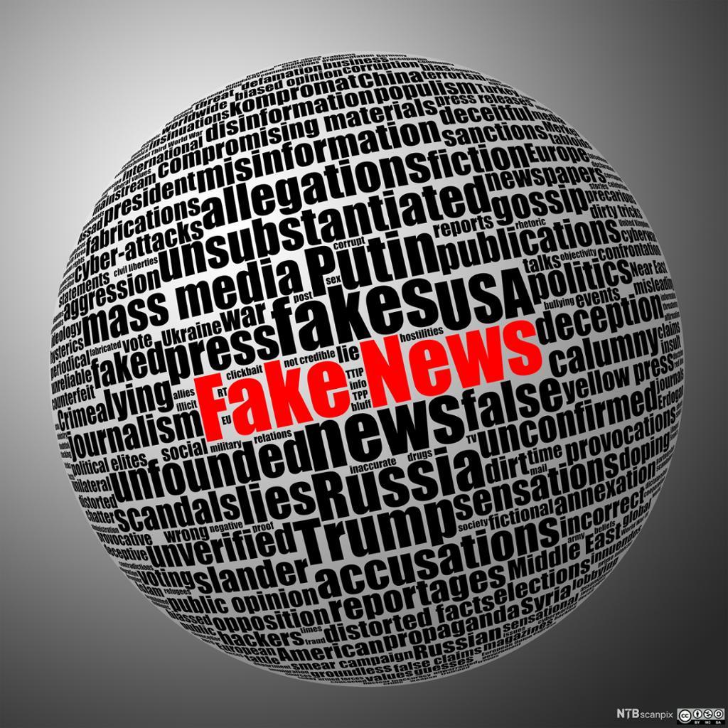 Ordsky formet som en jordklode, fake news fremhevet. Illustrasjon.