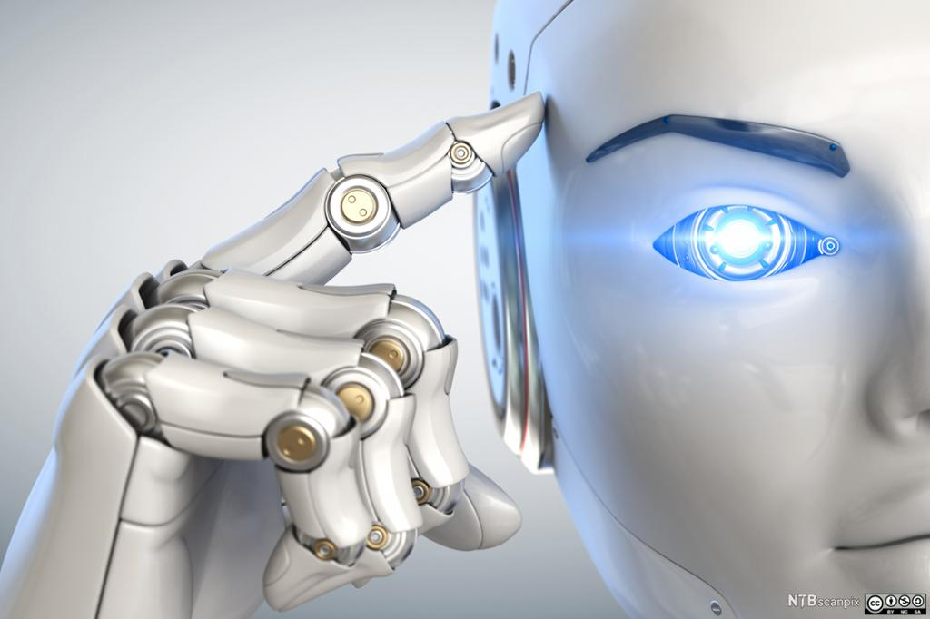 Robot med finger mot hodet. Illustrasjon.