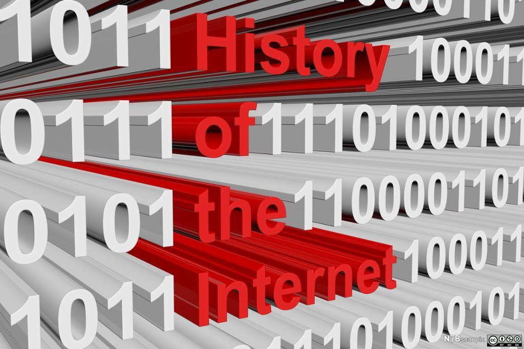 Rekker med tallene 0 og 1 og teksten «Internetts historie». Illustrasjon.
