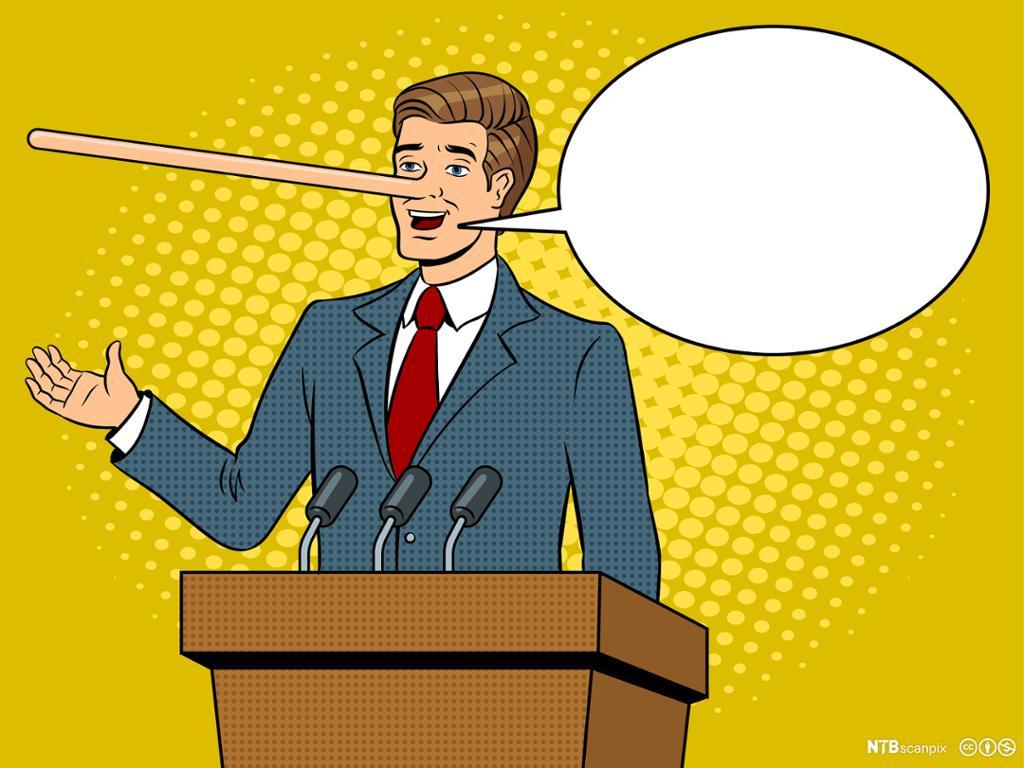 Tegneseriemann med lang nese og snakkeboble. Illustrasjon.