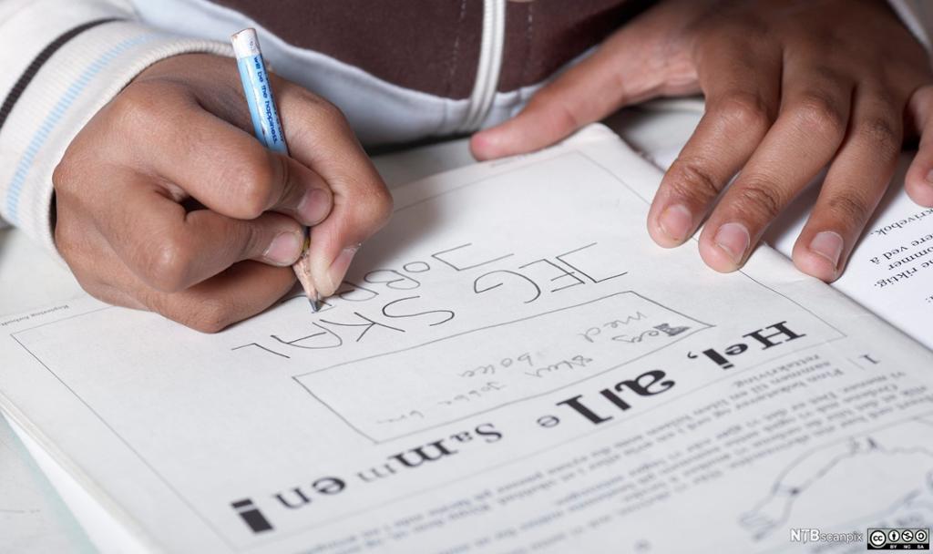 En elev gjør lekser. Foto.