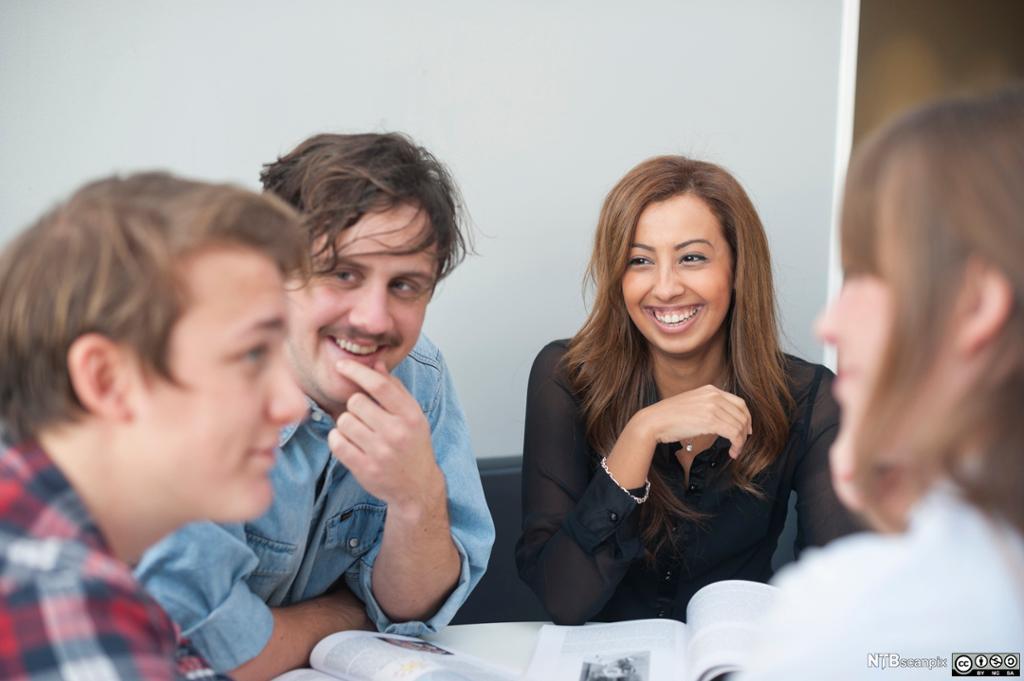 Fire unge mennesker diskuterer. Foto.