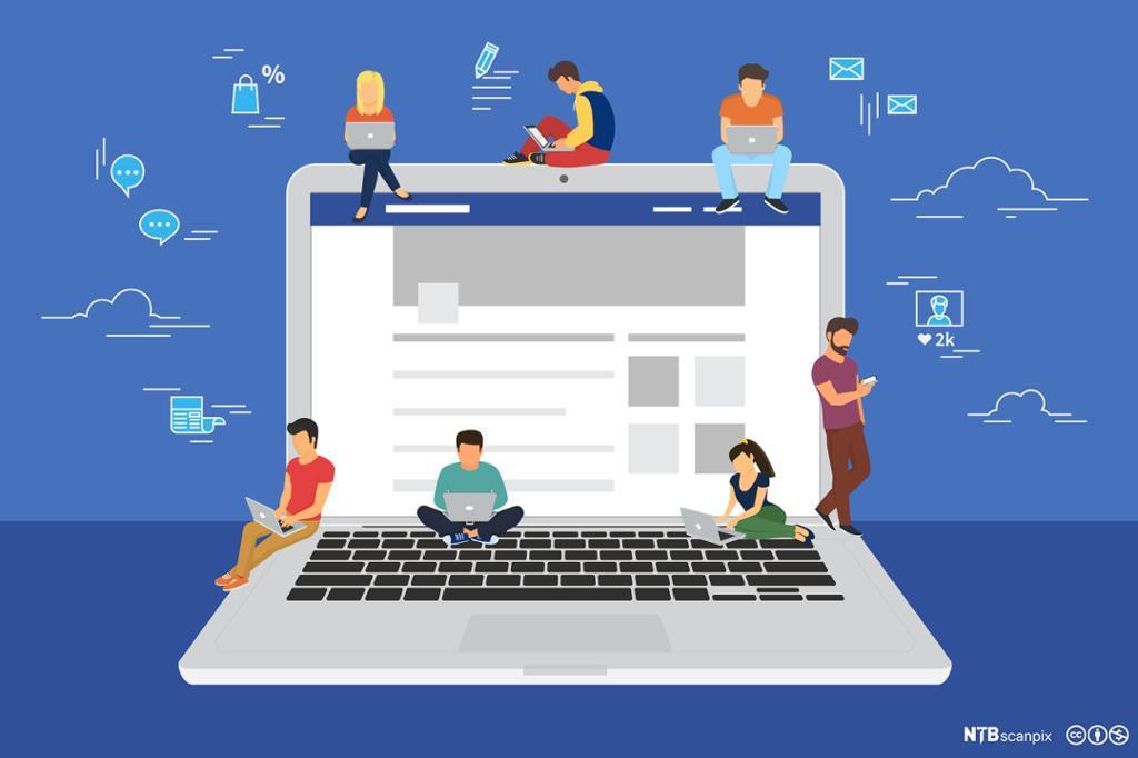Mange ungdommer sitter på en datamaskin og søker på nett. Grafisk illustrasjon.