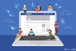 Mange ungdom sitter på en datamaskin og søker på nett. Grafisk illustrasjon.