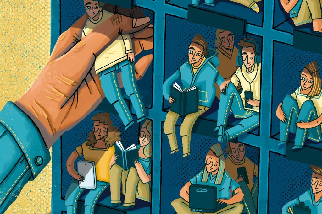 Illustrasjon av en hånd som putter mennesker i bås.