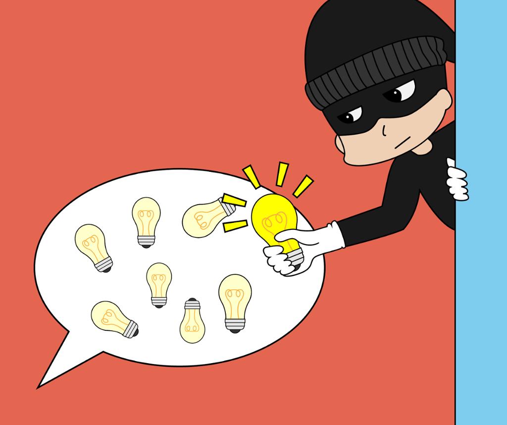 En tyv stjeler en lyspære. Illustrasjon.