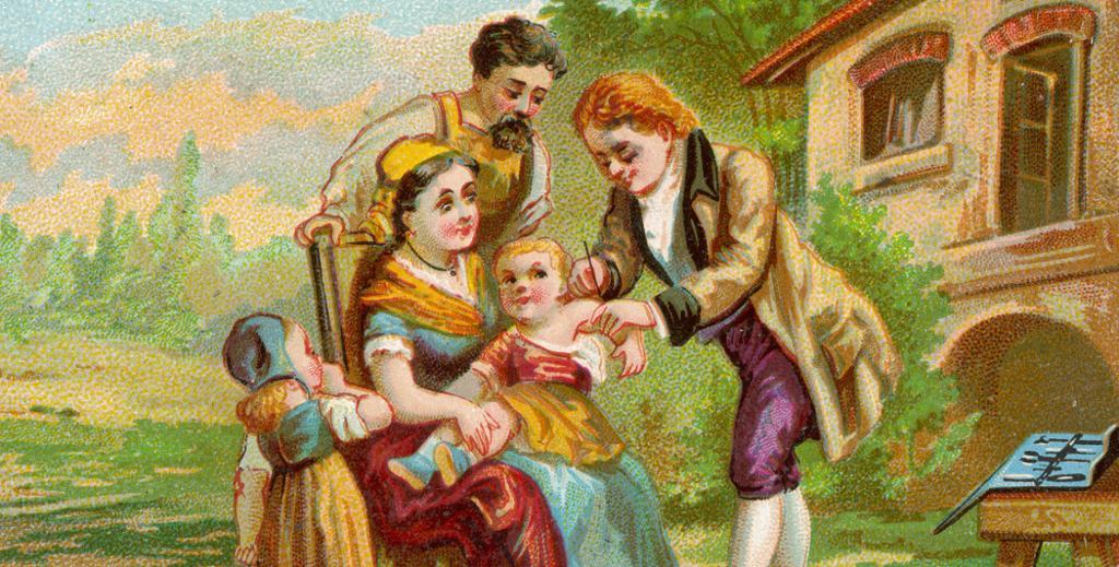 Edward Jenner vaksinerer en liten gutt. Grafikk.