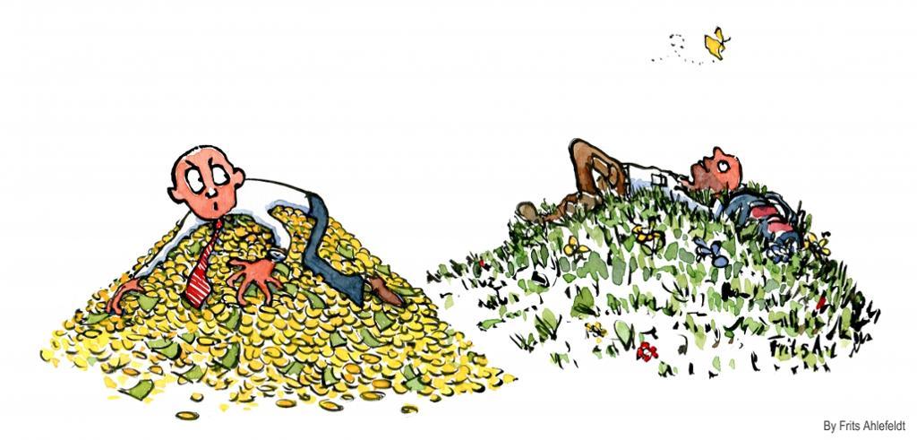 Mann som klamrer seg til pengene sine og mann som slapper av i en eng. Tegning.