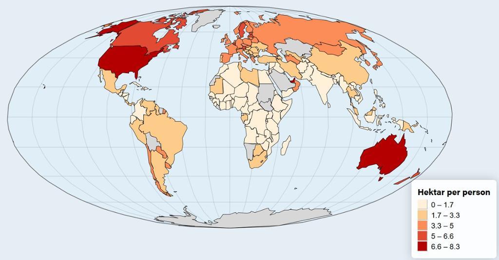 Verdenskart som viser økologisk fotavtrykk til ulike land. Illustrasjon.