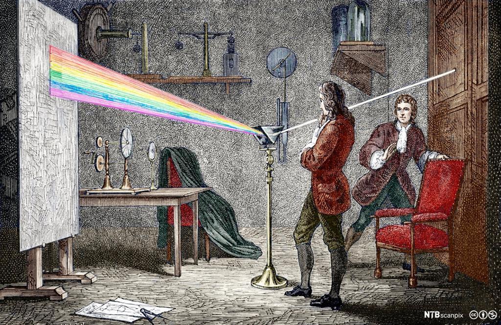 Isaac Newton gjennomfører lyseksperiment med prisme. Tegning.